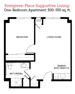 Alton, Illinois | One Bedroom Floor Plan