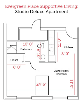 Beardstown, Illinois | Studio Deluxe Apartment Floor Plan