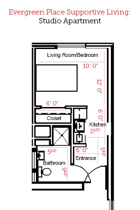 Beardstown, Illinois | Studio Apartment Floor Plan