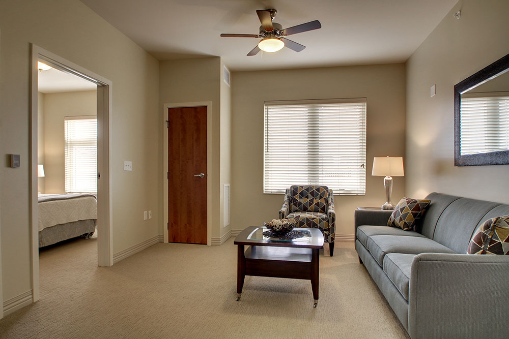 Living Room in individual apartment | Evergreen Senior Living - Chillicothe, Illinois