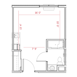 Indianapolis, Indiana | Assisted Living Studio Floor Plan