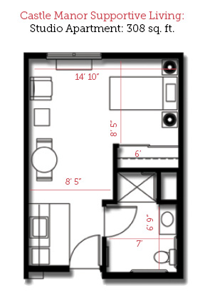 Lincoln, Illinois | Studio Floor Plan