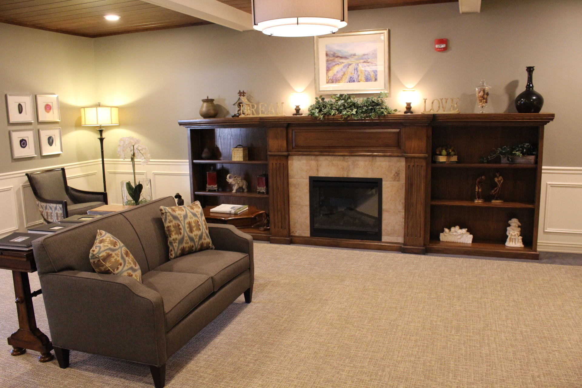 1.	Fireplace Sitting Area | Evergreen Place - Normal, Illinois